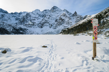 Morskie Oko lake in winter landscape of Tatra Mountains, Poland
