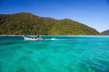 long boat tropical ocean at tachai island in Thailand