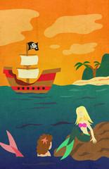 Mermaid Pirate Ship in Sunset