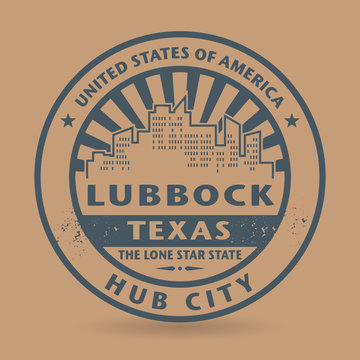 Grunge rubber stamp with name of Lubbock, Texas
