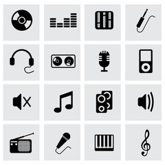 Vector black music icons set
