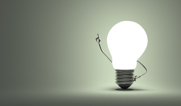 Light bulb character, aha moment, gray background