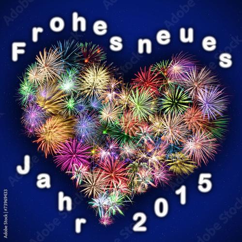 Feuerwerk Herz - Frohes neues Jahr 2015\