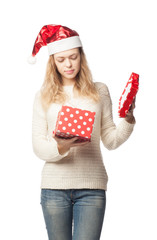 caucasian woman with gift on white background