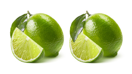 Two lime options isolated on white background
