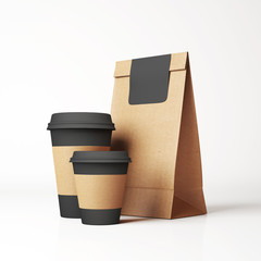 Craft paper bag and cups