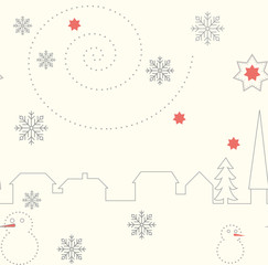 Seamless patterns with town, stars, snowflakes and snowman