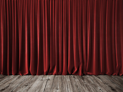Red curtains and vintage wood floor