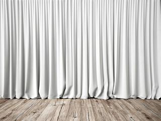 Obraz White curtains and wood floor - fototapety do salonu