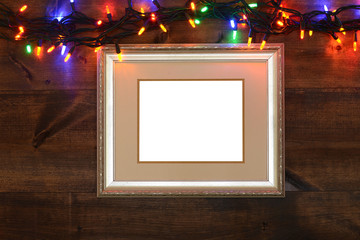 antique frame with christmas lights