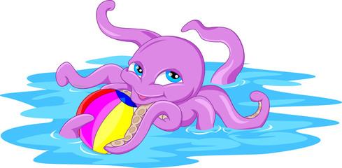 cute octopus cartoon with a ball