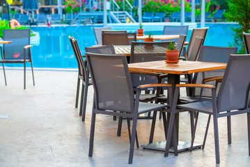 outdoor cafes near the swimming pool at dawn
