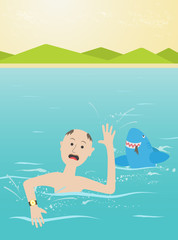 Scared man escapes from shark, flat style illustration