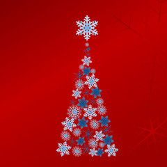Blue vector Christmas tree on bright red background