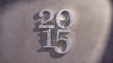 Happy New Year 2015 Metal Text Icon over Shaded Stone Background