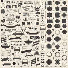 Huge set of vintage styled design hipster icons Vector signs and symbols templates for your design Largest set of phone, gadgets, sunglasses, mustache, ribbons infographcs element and other thing