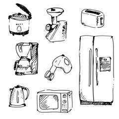Home appliances in vector. Vintage illustration.