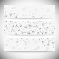 Set of horizontal banners. Abstract blue background vector
