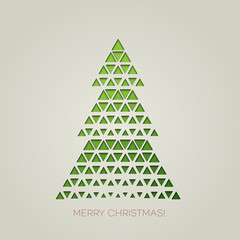 Merry Christmas tree with triangle shape