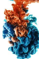 Ink color drop, blue and orange