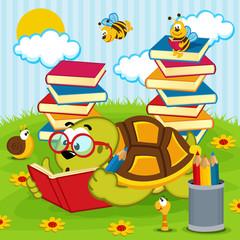 turtle reading book - vector illustration, eps