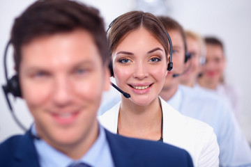 Attractive Smiling positive young businesspeople and colleagues