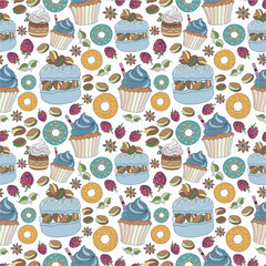 Seamless pattern of colorful desserts