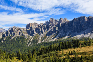 Mountain peaks near Passo Giau in autumn, Dolomites Mountains