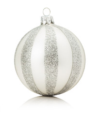 silver Christmas ball isolated on the white background