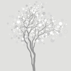 vector tree with light bubbles in branches