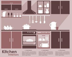 Kitchen interior flat infographic design
