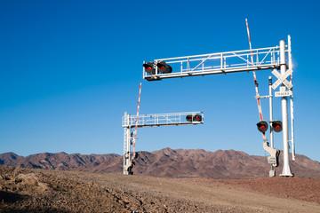 Mojave Desert Railroad Crossing Three Tracks Warning Lights