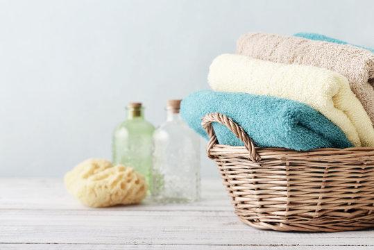 Bath towels and sponge