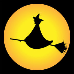 Witch on a broom against a full yellow moon