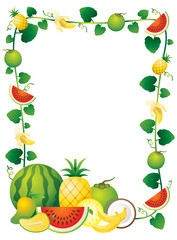 Mixed Fruits, Border, Frame