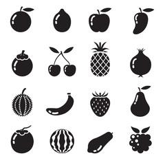B&W Icons Set : Piece of Fruits