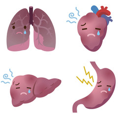 不健康な臓器のイラスト