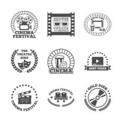 Cinema black retro labels icons set