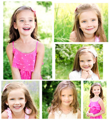 Collection of photos adorable smiling little girl