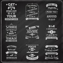Success quotes set chalkboard