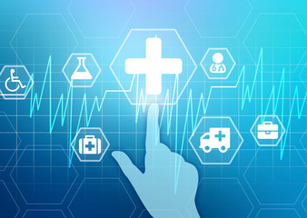 hand presses the medical cross. Heartbeat and icons Medicine.