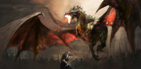 Fototapeta knight fighting dragon obraz