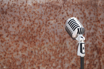 Silver vintage microphone in the studio