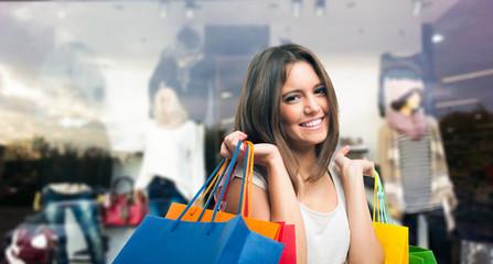 Smiling woman doing shopping