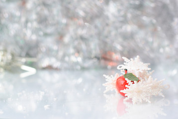 Christmas background with snowflakes apple