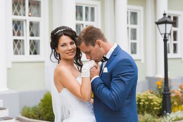 Wedding kiss. Kiss the bride and groom.