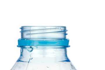 Close up plastic bottle without cap isolated on white background