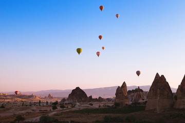 amazing beautiful sunrise over mountains in Cappadocia, Turkey