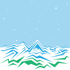 Vector of the high winter mountains