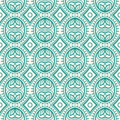 retro pattern with leaves and rhombuses